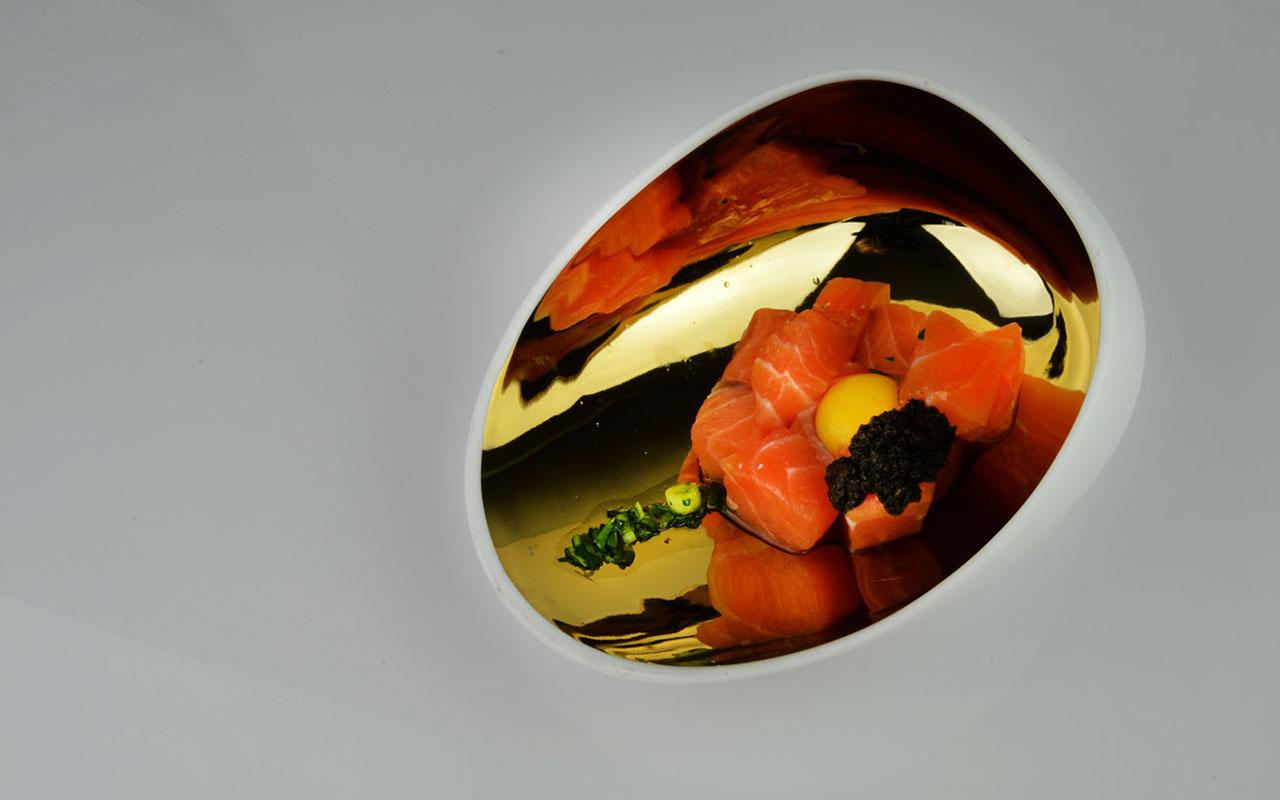 Knife Cut Salmon Tartar, Black Truffle Tapenade, Quail Egg, Guindilla Vinaigrette