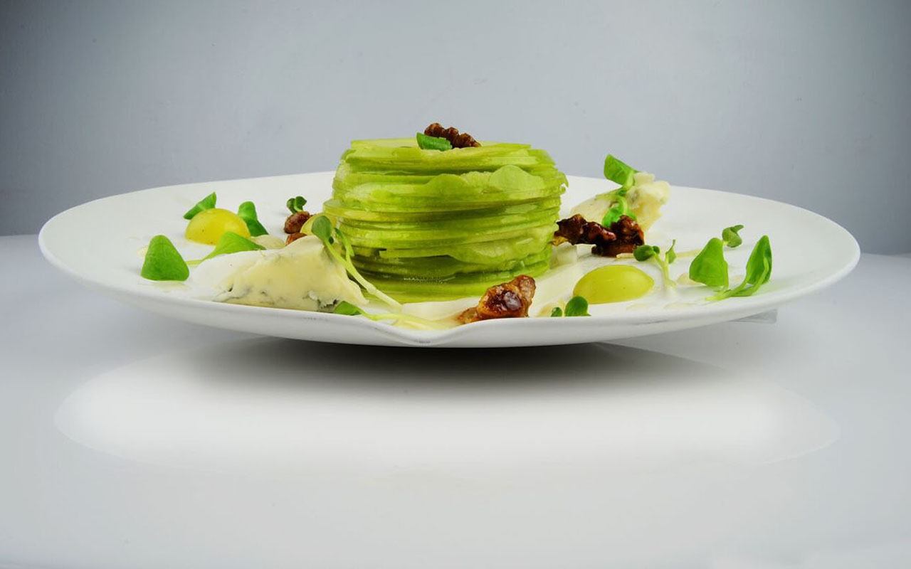 Le Basque Apple Waldorf, Daikon, Muscat Grapes and Walnuts, Maple Almond Vinaigrette