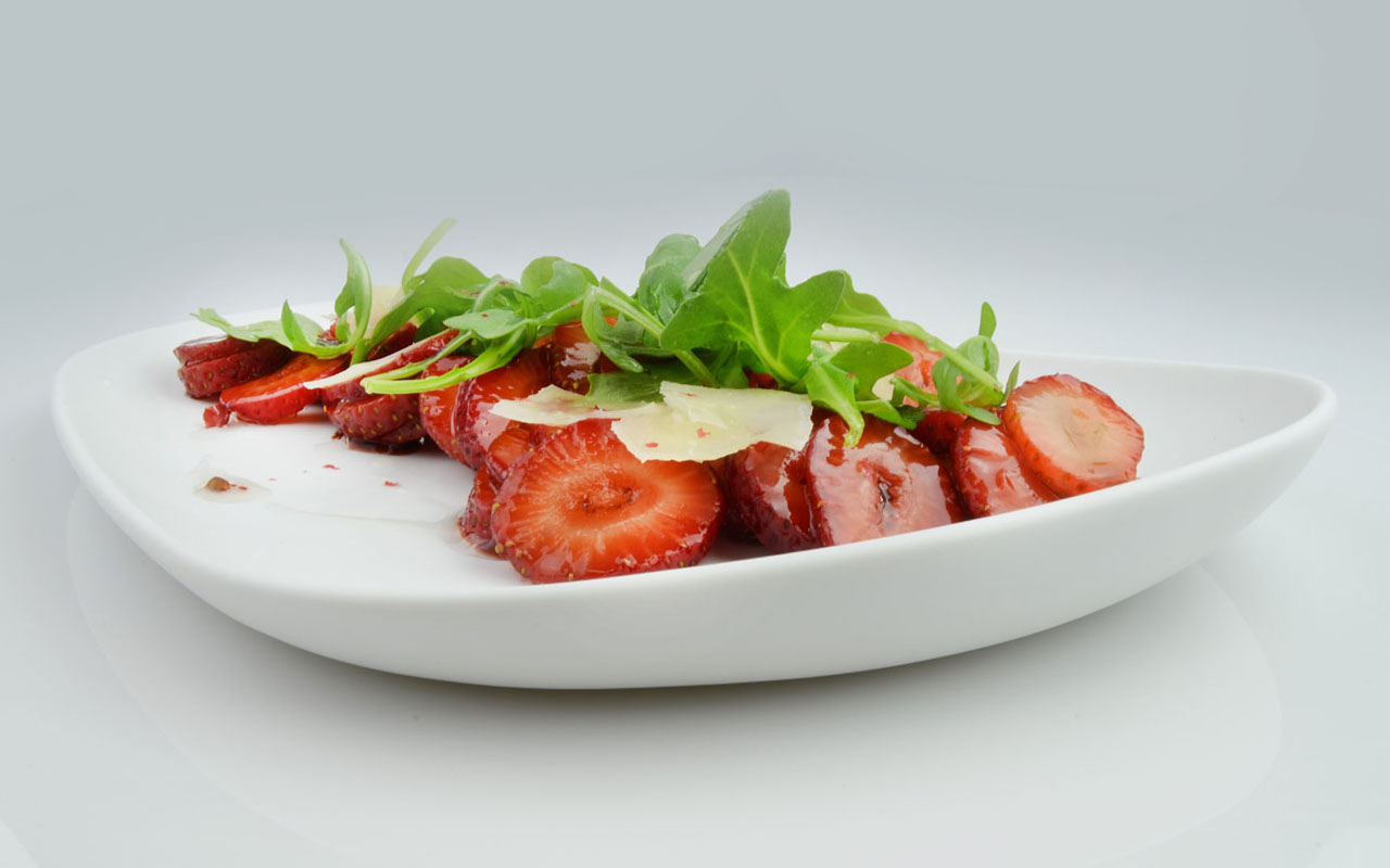 Balsamic Marinated Strawberries, Arugula, Shaved Parmesan