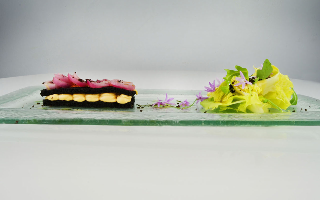 Salmorejo Millefeuille, Black Olive Bread, Pickled Red Onion, Escarole, Sherry Vinaigrette