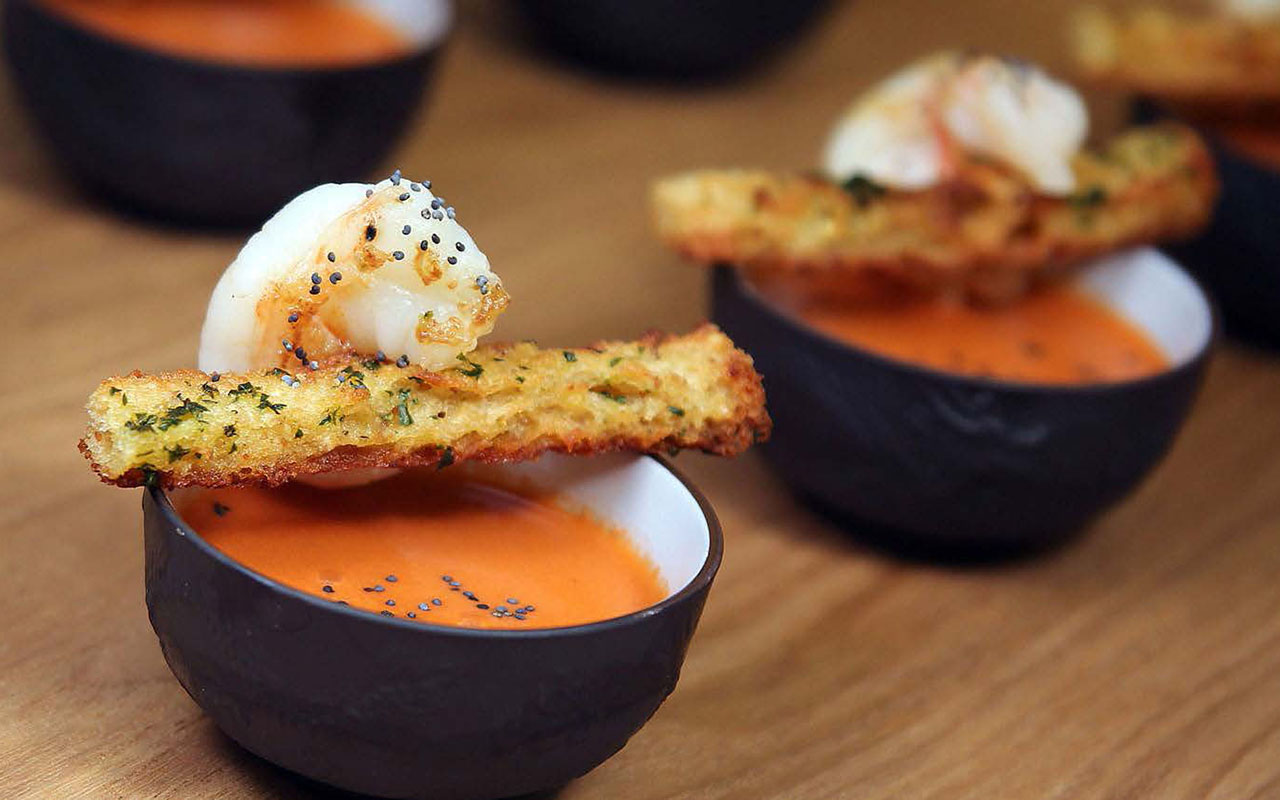 Watermelon Gazpacho, Marinated Shrimp, Croquante of Country Bread