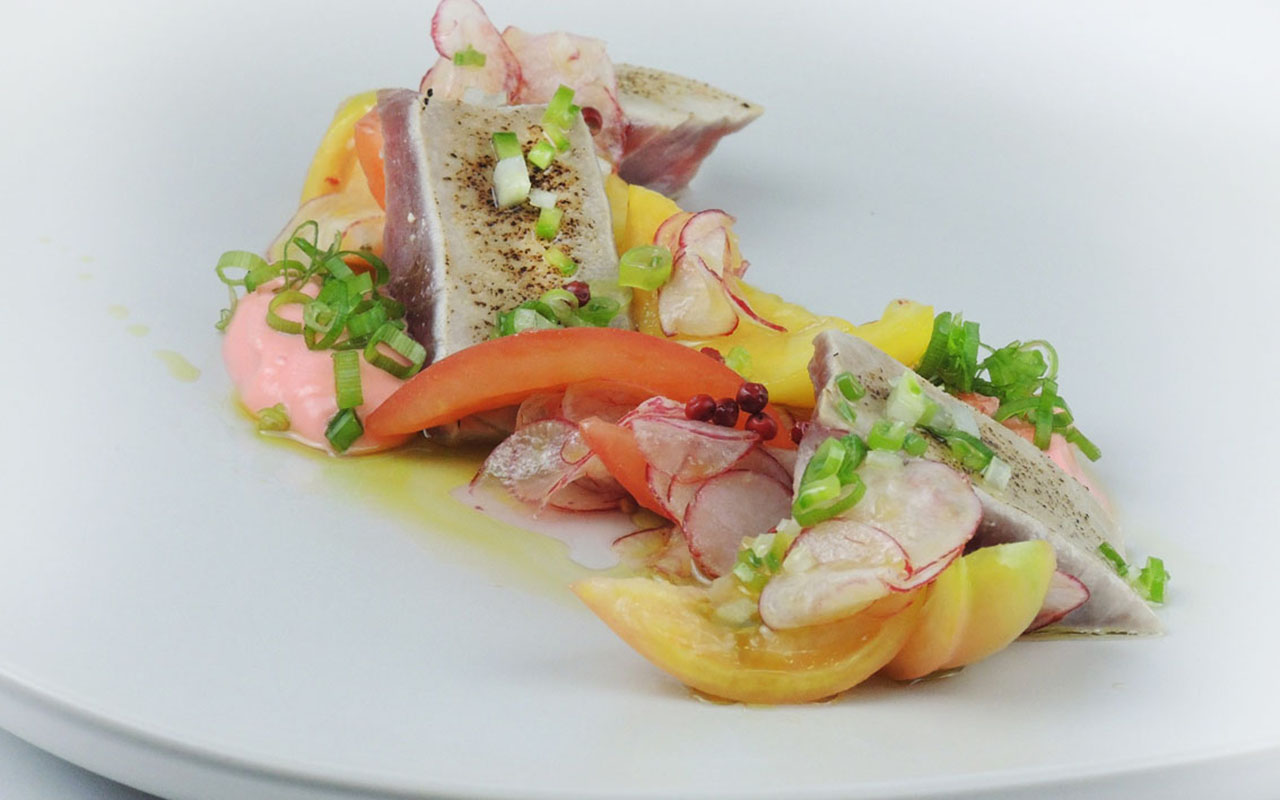 Marinated Bonito, Heirloom Tomatoes, Tomato Yogurt, Radishes, Spring Onion Vinaigrette