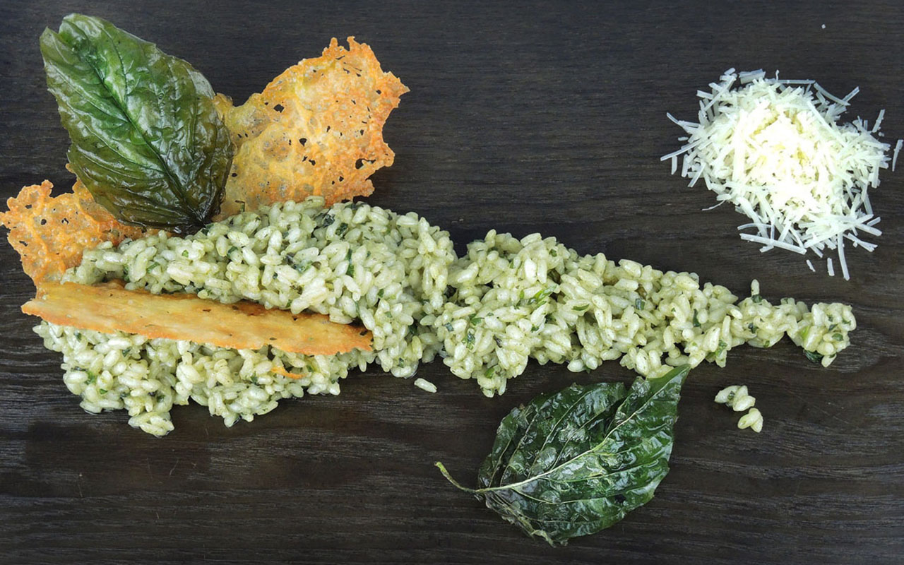 Basil Risotto, Parmesan Tuille