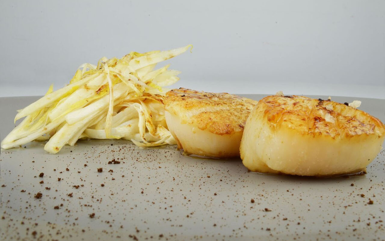 Seared Diver Scallops, Coffee Dust, Shaved White Asparagus, White Endive