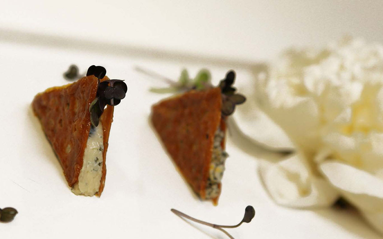 Bitter Orange Crispy Tuille, Cabrales Cheese